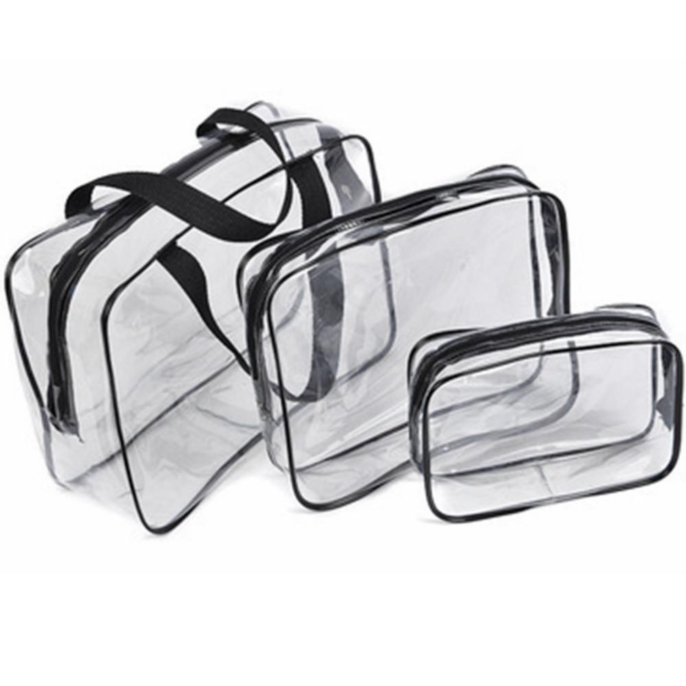 휴대용 명확한 여행 화장품 가방 세면 용품 여행 워시 스토리지 메이크업 파우치 투명 방수 PVC 가방 주최자 경우 TTA 90