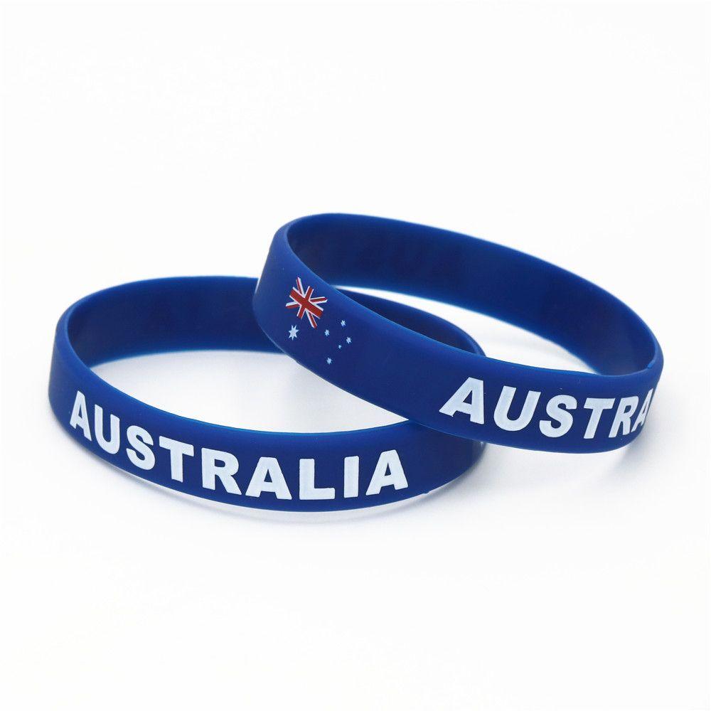 Equipe de futebol Bandeira 1PC Austrália País Silicone Pulseira Football Fans Esporte Elastic Rubber BraceletsBangles Armband SH234