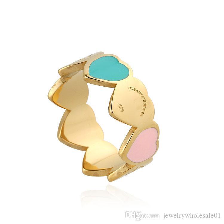 Anillo directo en forma de corazón con corazón en T, hombres y mujeres salvajes, anillo de acero de titanio, joyería de diseñador de marca, anillos para mujer