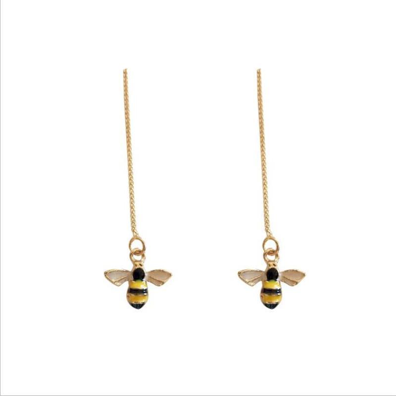 الكورية نمط لطيف عسل النحل قطرة الأقراط الساحرة طويل الساحرة المرأة أقراط الذهب أزياء سيدة مجوهرات اكسسوارات