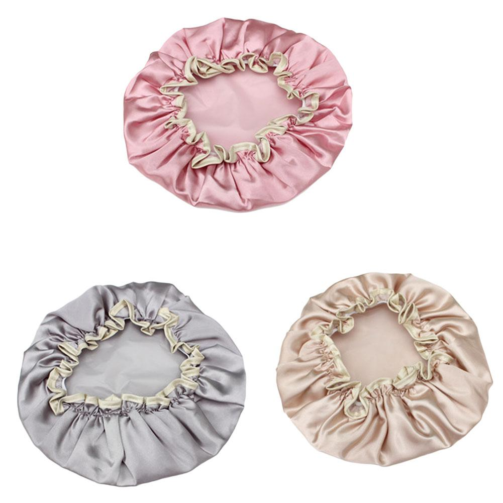 1 Piece New Lovely Thick Women Shower Satin Hats Colorful Bath Shower Caps Hair Cover Double waterproof Bathing Cap Wholesale