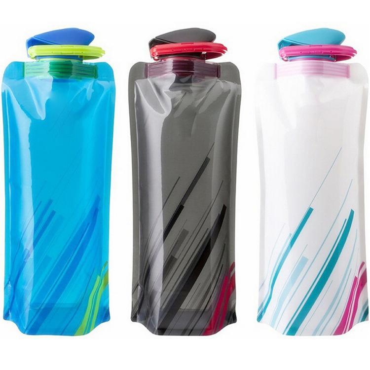 Botellas plegable bolsa de agua Hervidor de agua de PVC plegable deportes al aire libre Copas de viajes de escalada botella de agua con garabato GGA2635-1