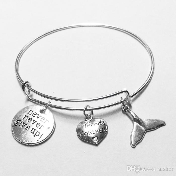 Classic Never Never Give Up Friends Forever Heart Whale Tail Bracelets Bangles Handmade Silver Alloy Chain Charm Bracelet Quote Jewelry Gift