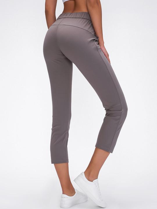LU-64 new yoga pants women's Athletic Fitness Leggings yoga Nine points pants high waist pocket sports yoga workout practice pants Lady