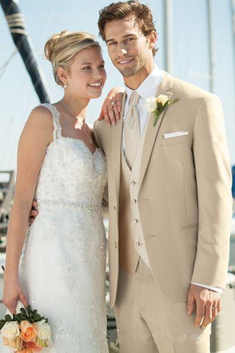 New Design Beige Groom Tuxedos Groomsmen Best Man Suits Mens Wedding Blazer Suits (Jacket+Pants+Vest+Tie) 1124