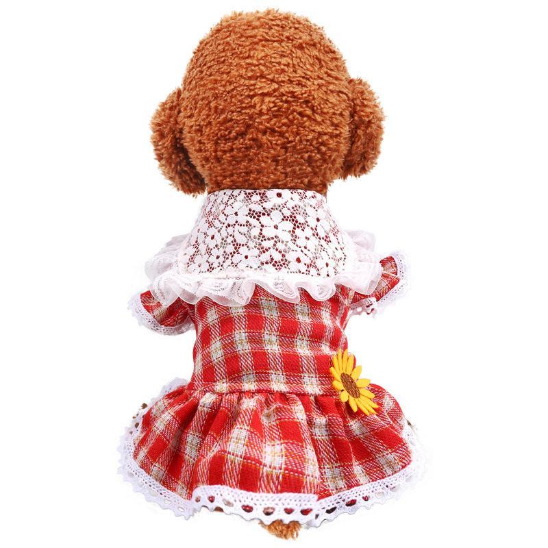 Милый Плюшевый Бульдог Цвергшнауцер Любимчика Юбки Мода Красный Плед Напечатан Маленькая Собака Одежды Любимчика Личности Кружева Принцесса Юбка