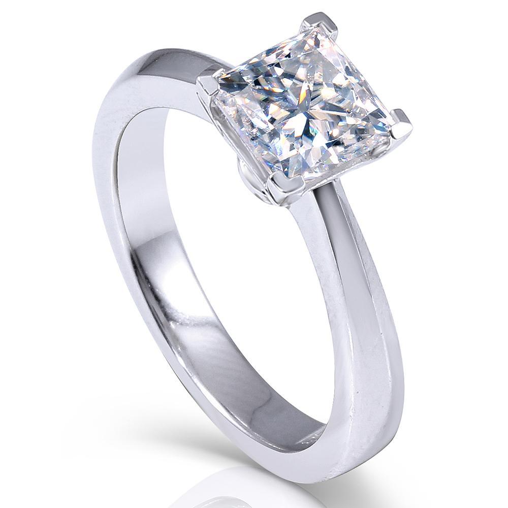 Transgems 1.3ctw Princess Cut Lab Grown Муассанит бриллиантовое обручальное обручальное кольцо Платиновый покрытием стерлингового серебра 925 Y19032201
