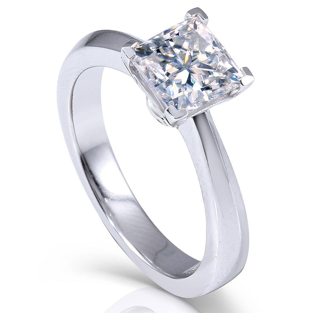 Transgems 1.3ctw Princesa Cut Lab Grown Moissanite Diamante casamento anel de noivado de platina banhado a prata 925 Y19032201