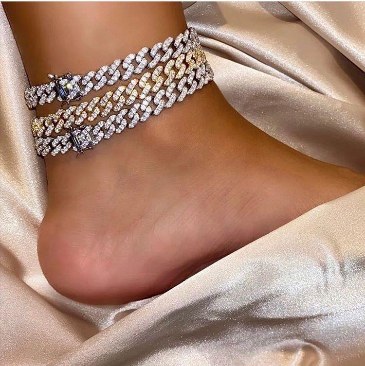 디자이너 보석 아이스 아웃 체인 남성 여성 발찌 힙합 블링 다이아몬드 발목 팔찌 골드 실버 쿠바 링크 패션 액세서리 매력