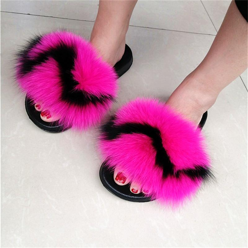 femmes en fourrure de renard Fluffy Slippers Femme Diapositives belle peluche réel Fox cheveux colorés Pantoufles femmes Furry flip flops Sandales Party
