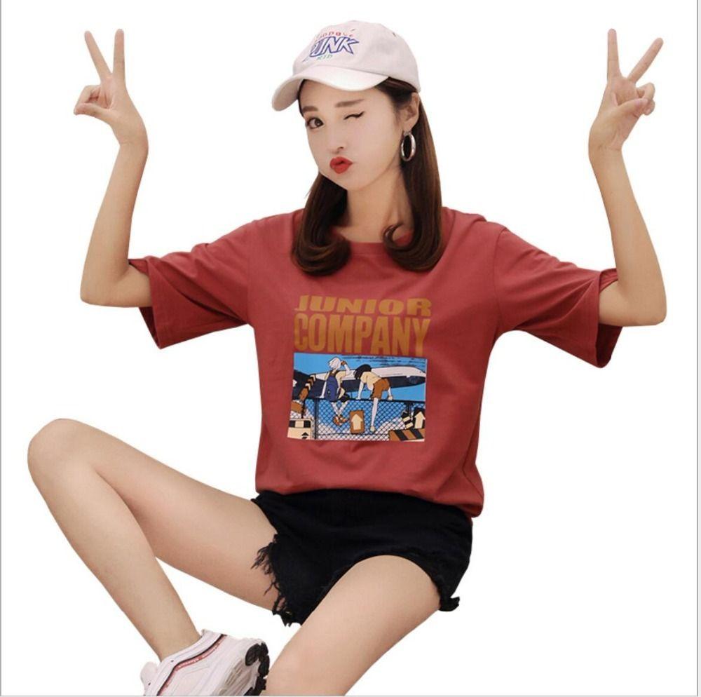 2019 Новое прибытие Tshirt Весна Лето Печатается с коротким рукавом O шеи хлопка женщин Топы блудницы Tshirt JY1008 CX200605