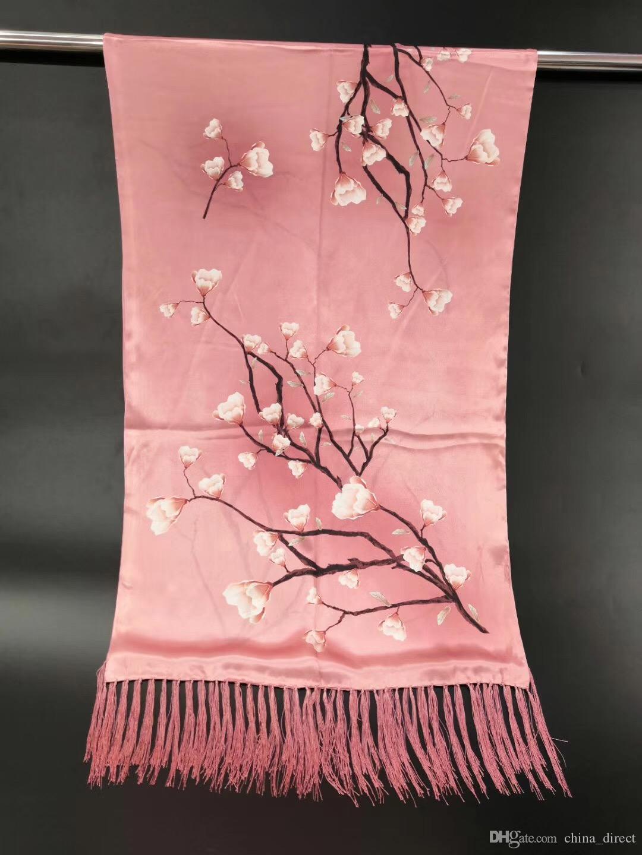 100% real Silk 2 Schichten Female Hijab Bandana Schal Frauen Lange Quaste Blumendruck Schal-Schal-Schal 180 * 55cm 10pcs gemischte # 4136