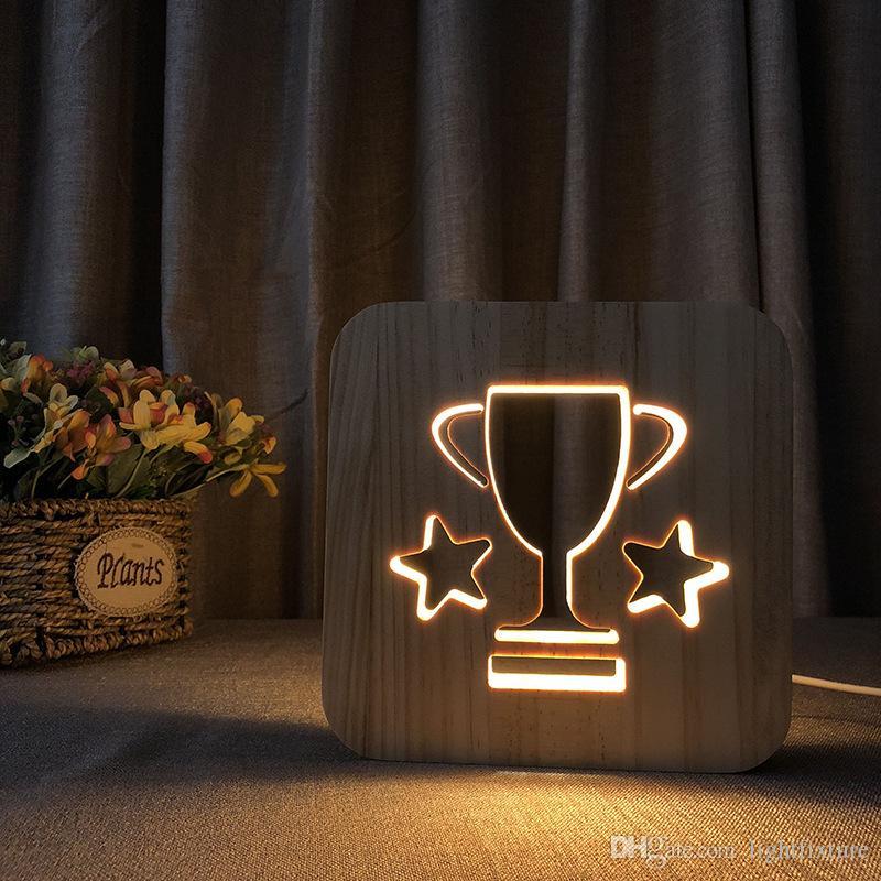 Ahşap Kupa Gece Işıkları LED Delikli Ahşap Gece Lambası Sıcak Beyaz Yatak Odası Başucu Işık Hediye 3D Nightlight