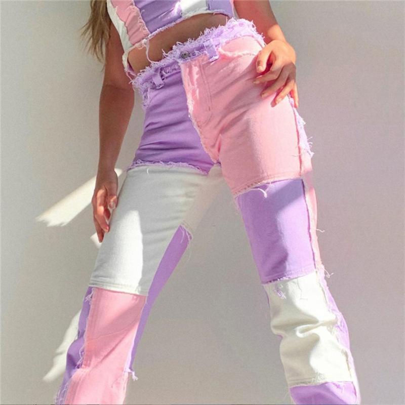 خليط نحيل عالية الخصر Y2K جينز للنساء المتناثرة الرياضية البضائع السراويل ركض النساء التسعين 90s المتزلج الجينز