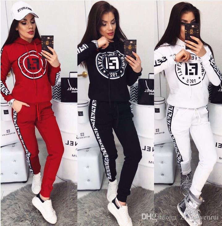 Campeón de las mujeres chándal de deporte Conjunto de manga larga diseñador de camisetas Top + pantalones de dos piezas de ropa de mujeres de la marca de moda traje de trajes