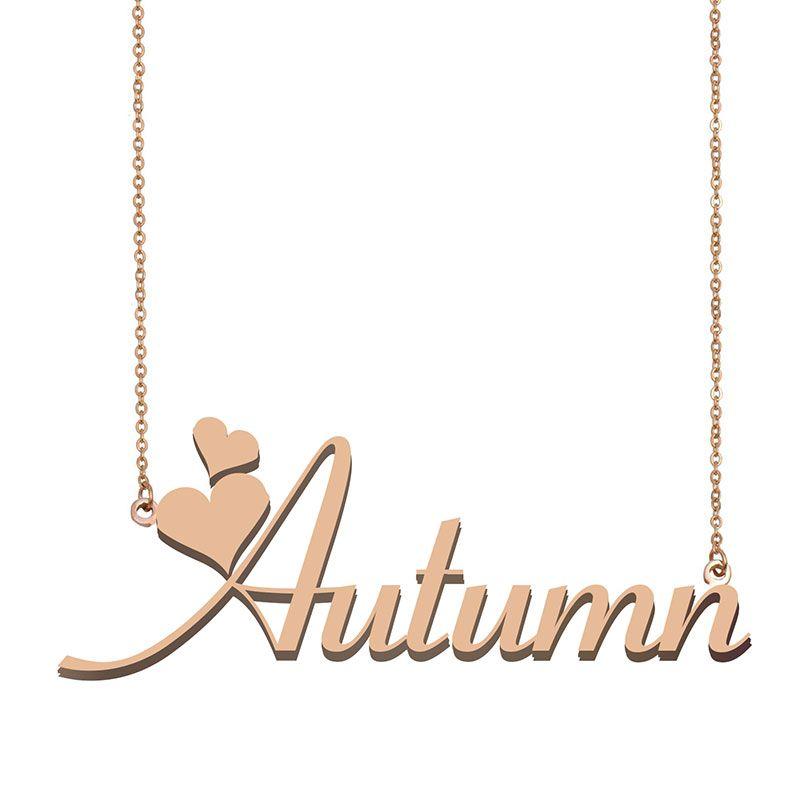Nombre del otoño colgante, collar de muchachas de las mujeres del regalo de cumpleaños de encargo de la placa de características de los niños los mejores amigos joyería 18k chapado en oro de acero inoxidable