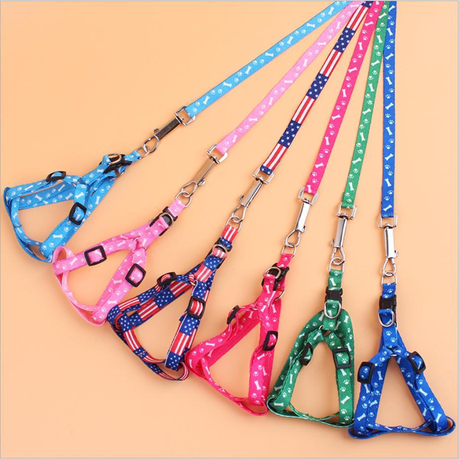 laisse harnais pour chien chien jeu 1.5cm * 120cm en nylon imprimé réglable collier de chien Pet Puppy animaux de chat Accessoires Collier Pet corde collier cravate