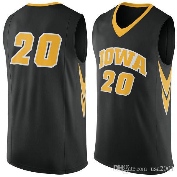 custom made 2019 #20 Iowa Hawkeye man women youth basketball jerseys size S-5XL any name number