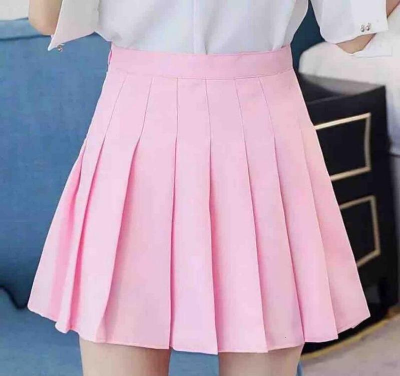 Style Coréen Jupe à taille haute Taille Plus Harajuku Femmes Mini Jupes Sexy Ladies Blanc Jupe Femmes d'été Jupes Couleur unie XS-2XL W856