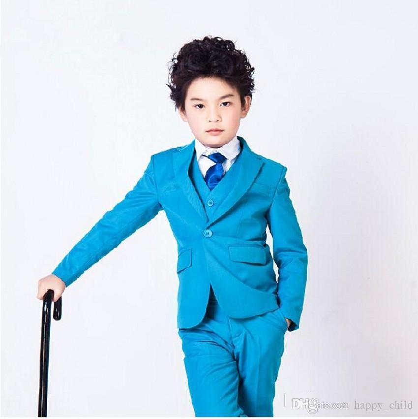 Boys Tuxedo Vest Set Solid Turquoise