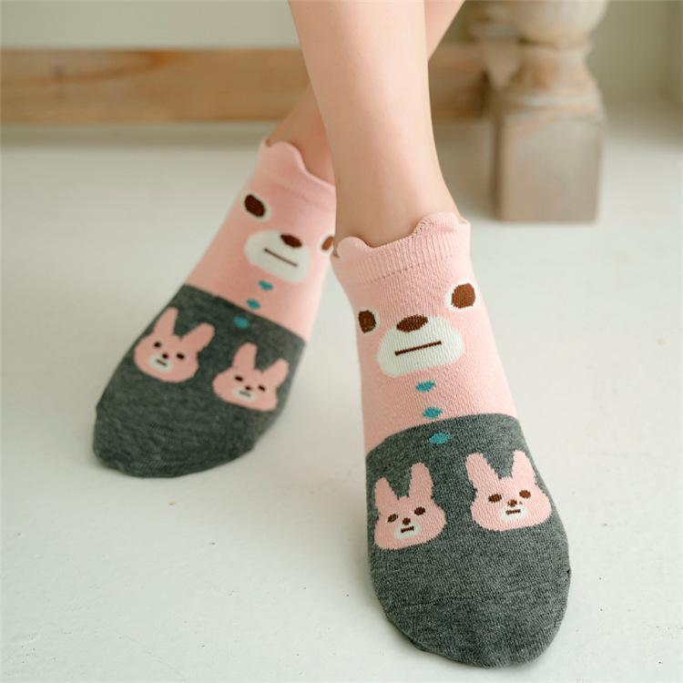 Moda Kadın Çorap 2020 Yeni Bahar Sevimli Karikatür Casual Bilek Pamuk Çorap Nefes Komik Kısa Kadın Kore Stili