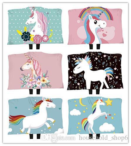 SF 3D печать с капюшоном Одеяло плаща Soft Blanket Толстые двустенных Плюшевые Unicorn Диван Одеяло 150 * 200 A08