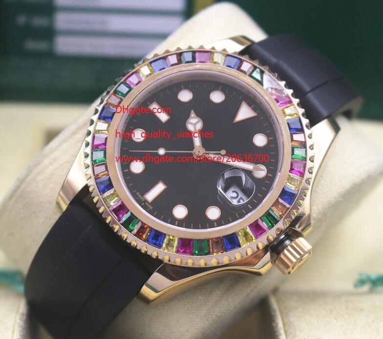 Lujo de fábrica de proveedores de 40 mm de pulsera de cristal de zafiro 116 655 Negro esfera de un reloj Relojes del diamante del bisel mecánico automático de los hombres del Mens