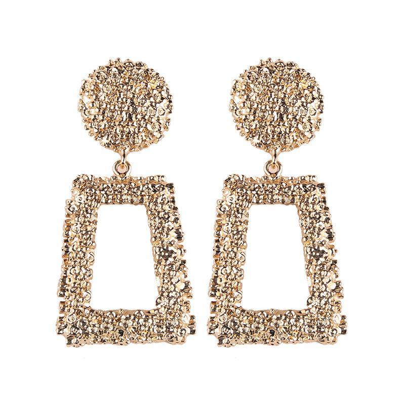 Pendientes de la vendimia de las mujeres gota cuelga los pendientes grande para la Declaración de Mujeres Oro Plata Negro geométrico pendiente del metal Earing Colgando Moda Jewelr