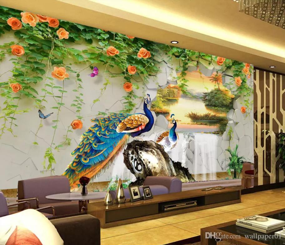 павлин трехмерная пейзажная живопись фон стены натуральные 3d обои