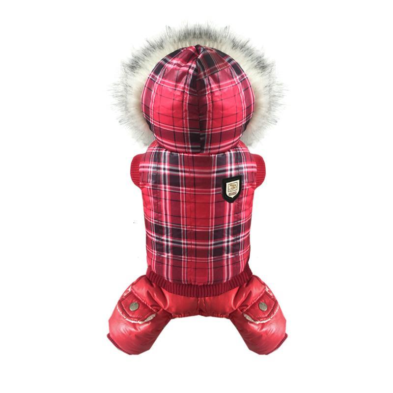 Новый красный плед с капюшоном зима одежда для собак толстая собака куртка чихуахуа щенок домашнее животное теплая зима пальто костюм собаки S-XL T191116