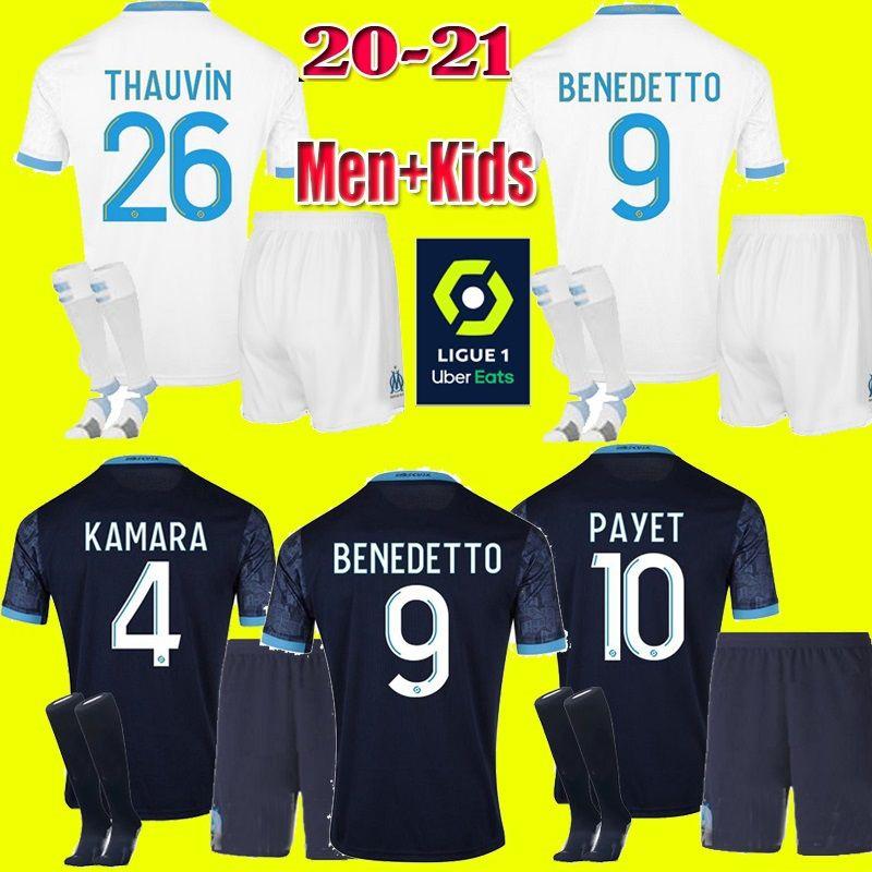 Uomi bambini 2020 Maglia 2021 l'Olympique de Marseille BENEDETTO Calcio Payet 20 21 OM maglia da Terzo Marsiglia Calcio THAUVIN Maillot de foot