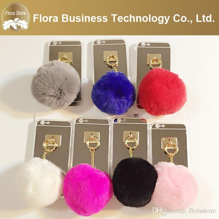 Free Shipping New Design Alum Mirror Back with fur pom & butterfly Cell Phone Cases Mobile Cover For iPhone 7 8 X Max wholesale