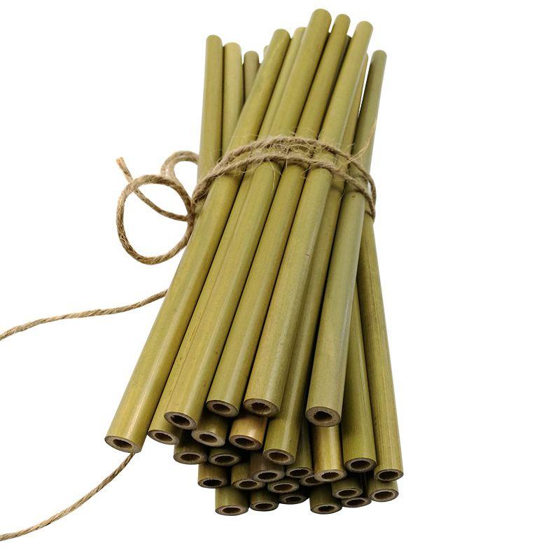 Pailles à boire en bambou de couleur verte Pailles à boire en bambou réutilisables à la main réutilisables et biodégradables Alternative aux outils à boire en plastique