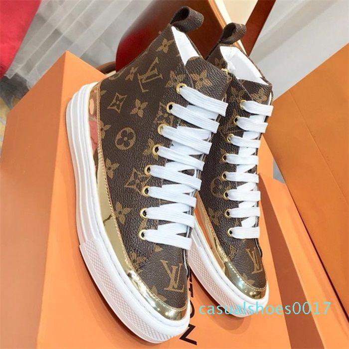 Mulheres Stellar Sneaker Botas das senhoras do desenhador de luxo Shoes Lace Up Flats Sneakers alta superior Plataforma Botas Couro Moda c17 Shoe Casual