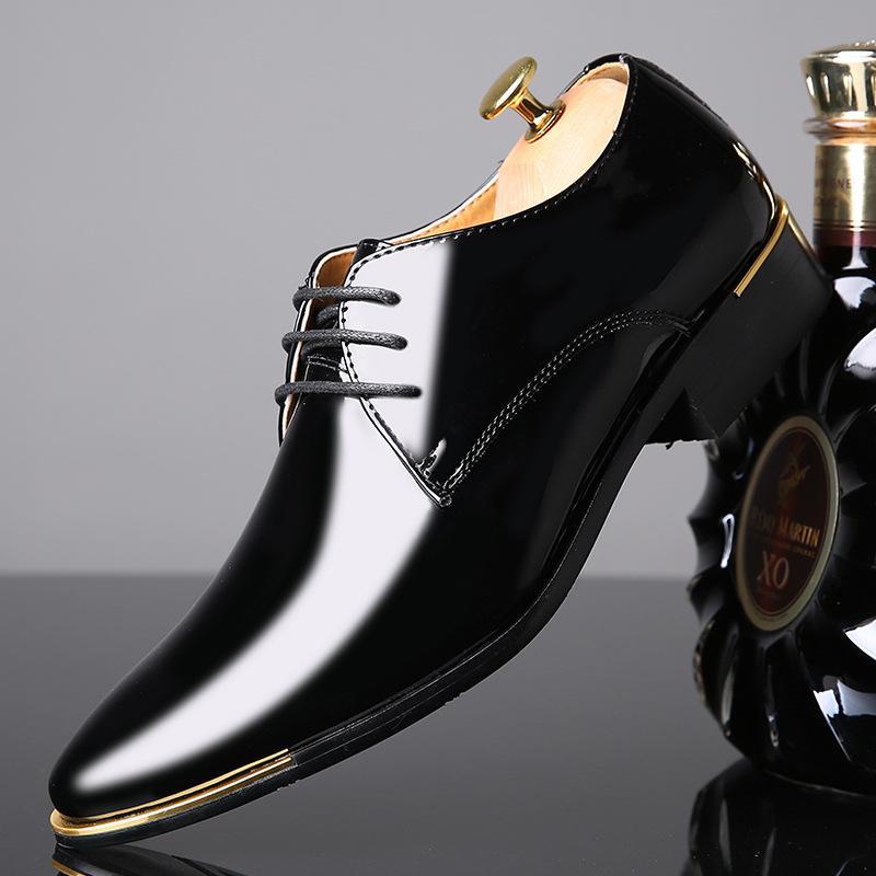 Cuero REETENE patente de la alta calidad de los zapatos de los hombres de los hombres de la boda de Oxford Zapatos con cordones de la oficina del juego Hombres Zapatos Casual Hombre de vestir