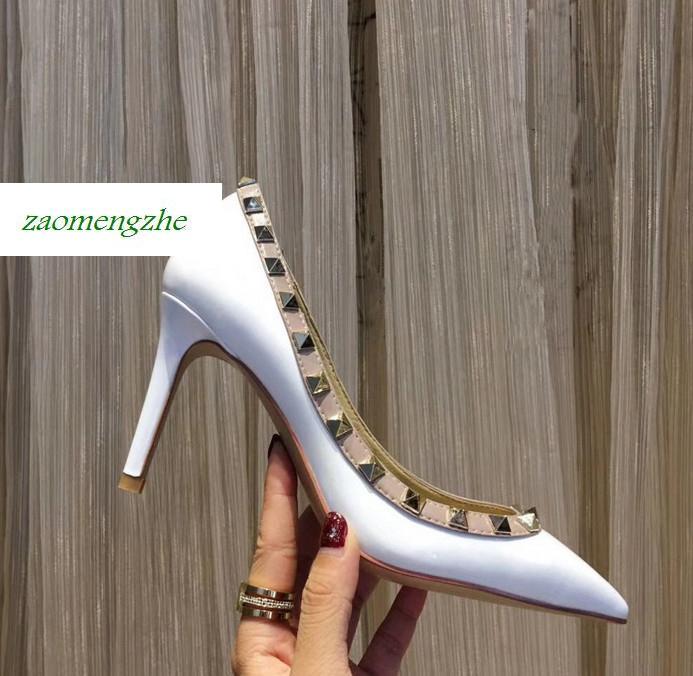 Dedo do pé pontiagudo Da Marca Mulher de 2 alças saltos altos bombas de Salto Alto Vermelho Mulheres Sapatos Bombas De Casamento 8,5 cm