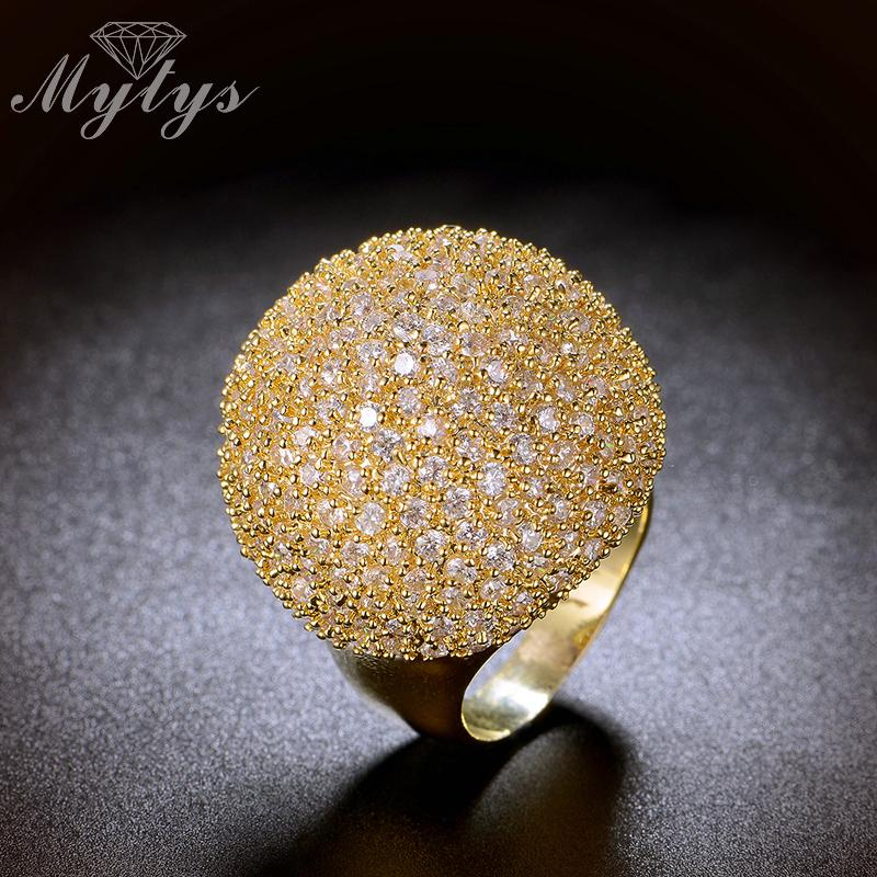Mytys Pave Setting Crystal Luxury Chunky Ring Ball Shape Fashion Gorgeous High Quality Jewelry New Big Rings R1048 R1049 J190714