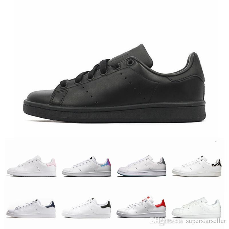 Ucuz stan smith klasik erkekler woemn Rahat ayakkabı smiths Üçlü siyah beyaz kırmızı altın erkek açık deri spor eğitmeni sneakers Boyutu 11