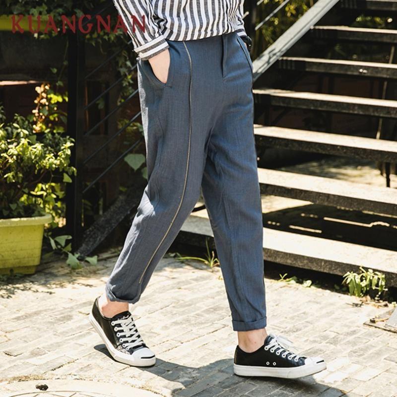 KUANGNAN Lino Casual Pantaloni Uomo Pantaloni Hip Hop Jogger Pantaloni Uomo Pantaloni felpa giapponese jogging Streetwear 2019 Spring