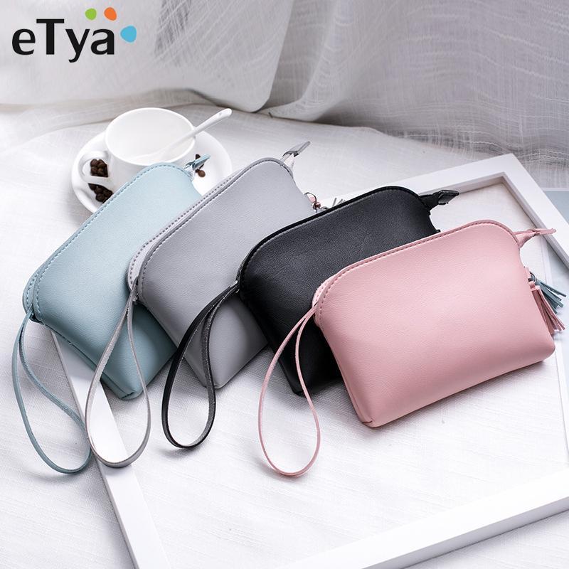 eTya Fashion Women Cosmetic Bag PU Leather Storage Makeup Box Travel Beauty Toiletries Bags Clutch Female Phone Purses Handbag