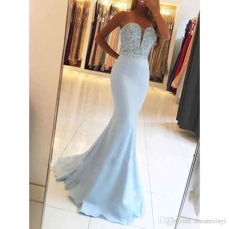 2019 Длинные платья выпускного вечера Русалка без рукавов длиной до пола, бисероплетение Милая вечернее платье Бальные платья