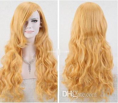 Cosplay Harajuku Anime Women Anime Long Yellow Blonde Wavy Hair Wig Costume Full Wig for women wigs