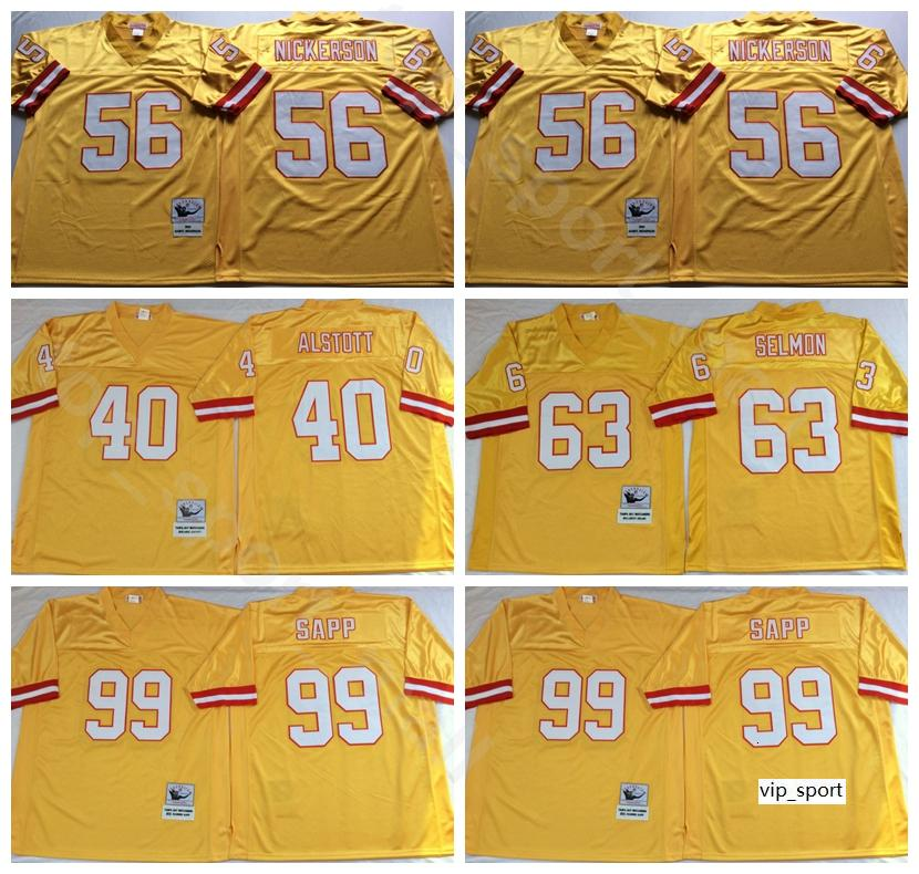 NCAA Fußball 63 Lee Roy Selmon 99 Warren Sapp Jerseys 40 Mike Alstott 56 Hardy Nickerson Farbe Gelb Mann Vintage Stitch Gut