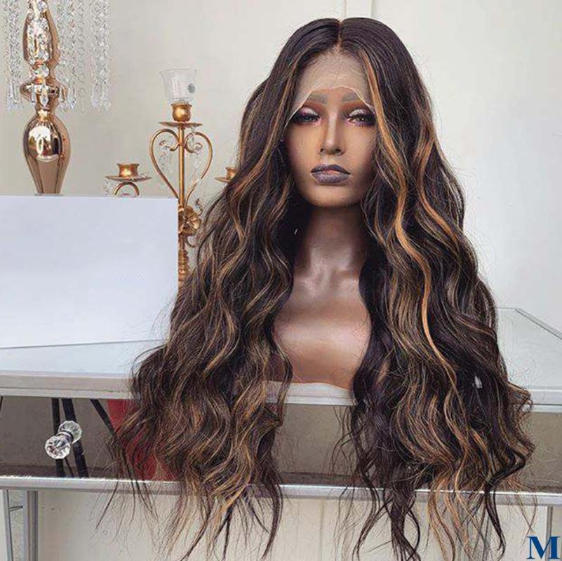 Длинные и волнистые Выделите Lace Блондинка перуанский человеческих волос передние парики для женщин 180Density Glueless полные парики шнурка Bleach Узлов