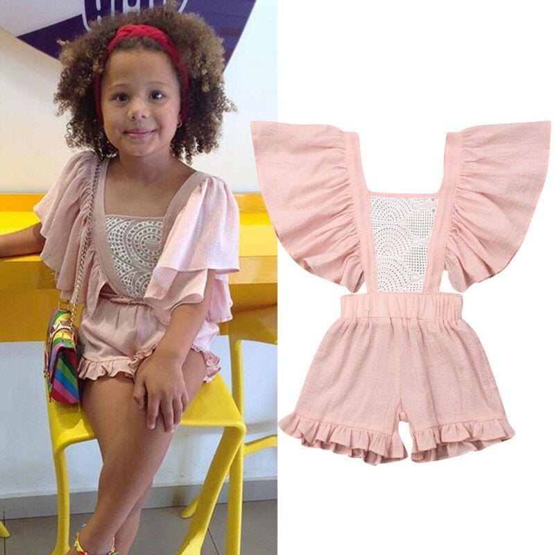 1-5T Moda Bebek Kız Bebek Romper Bodysuits Backless tulum Bebek Çocuk Yaz fırfır Jumpsuit Kızlar Elbise
