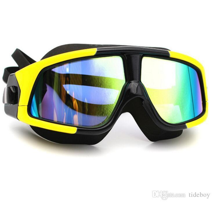 2019 جديد الكبار نظارات السباحة HD المضادة للضباب نظارات الموضة الإطار كبير سيليكون شقة مرآة نظارات السباحة