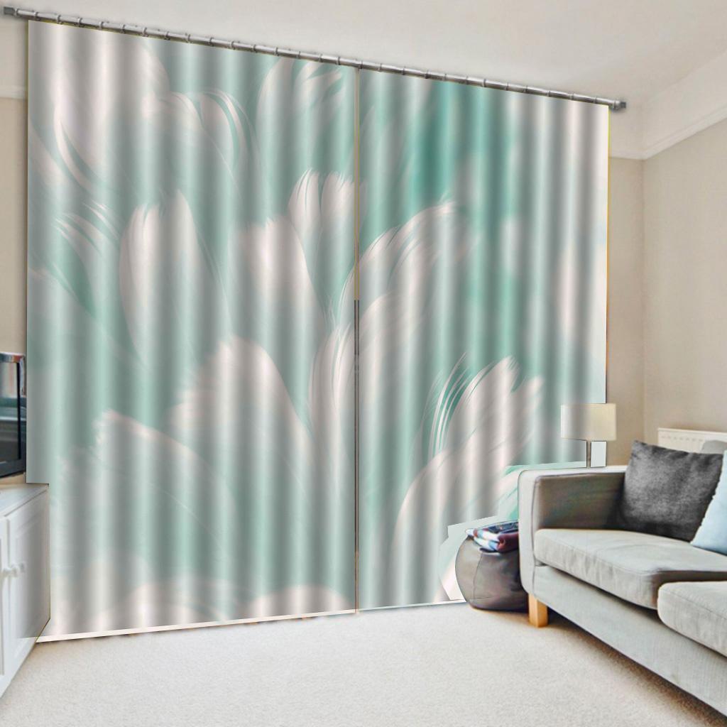 3d Salon simple rideau peints à la main Fantaisie plumes blanches décoratif intérieur Belle Blackout Rideaux