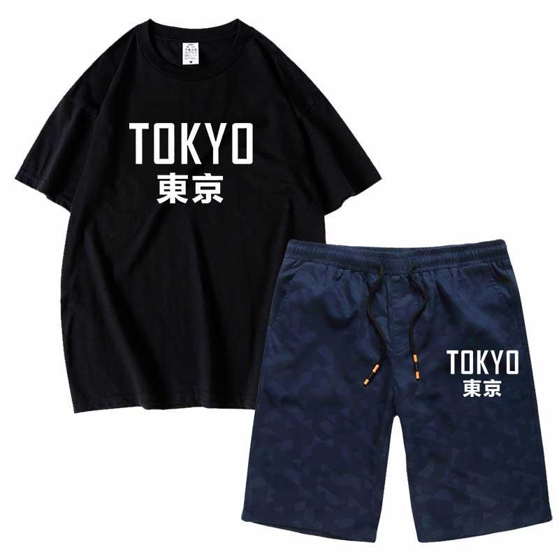 Hombres Conjunto Tokio manga corta conjuntos de deportes de los pantalones cortos de algodón informal o las camisetas de los hombres de cuello de manga corta camiseta top hombre al por mayor de ropa