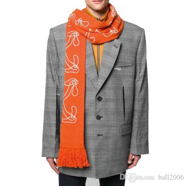 20ss Marke modischen Hip Hop Trend weg Schal weiß Jacquard Pfeil Männer und Frauen Winter Strick vielseitig Schal 23 * 170cm