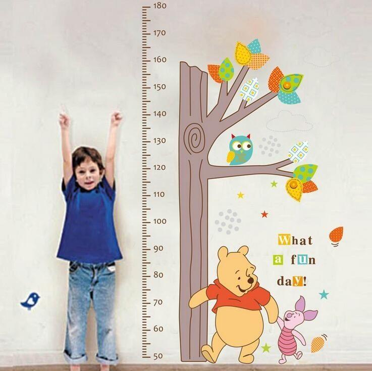응접실 어린이 침실 예쁜 홈 장식 벽화 데칼 어린이의 높이 측정 나무 베어 올빼미 이동식 벽 스티커 쿨